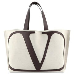 Valentino VLogo Tote Canvas with Leather Large