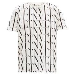 Valentino VLT All over logo Black & White Cotton T-shirt L