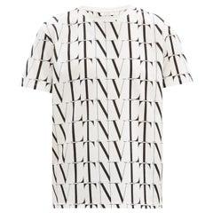 Valentino VLT All over logo Black & White Cotton T-shirt S