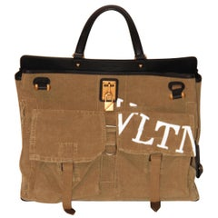 Valentino VLTN Military Canvas Maxi Joylock Top Handle Bag