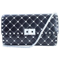 Valentino Wallet on Chain Rockstud Spike 7mr0611 Black Leather  Cross Body Bag