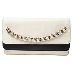 Valentino White/Black Leather Chain Double Flap Clutch