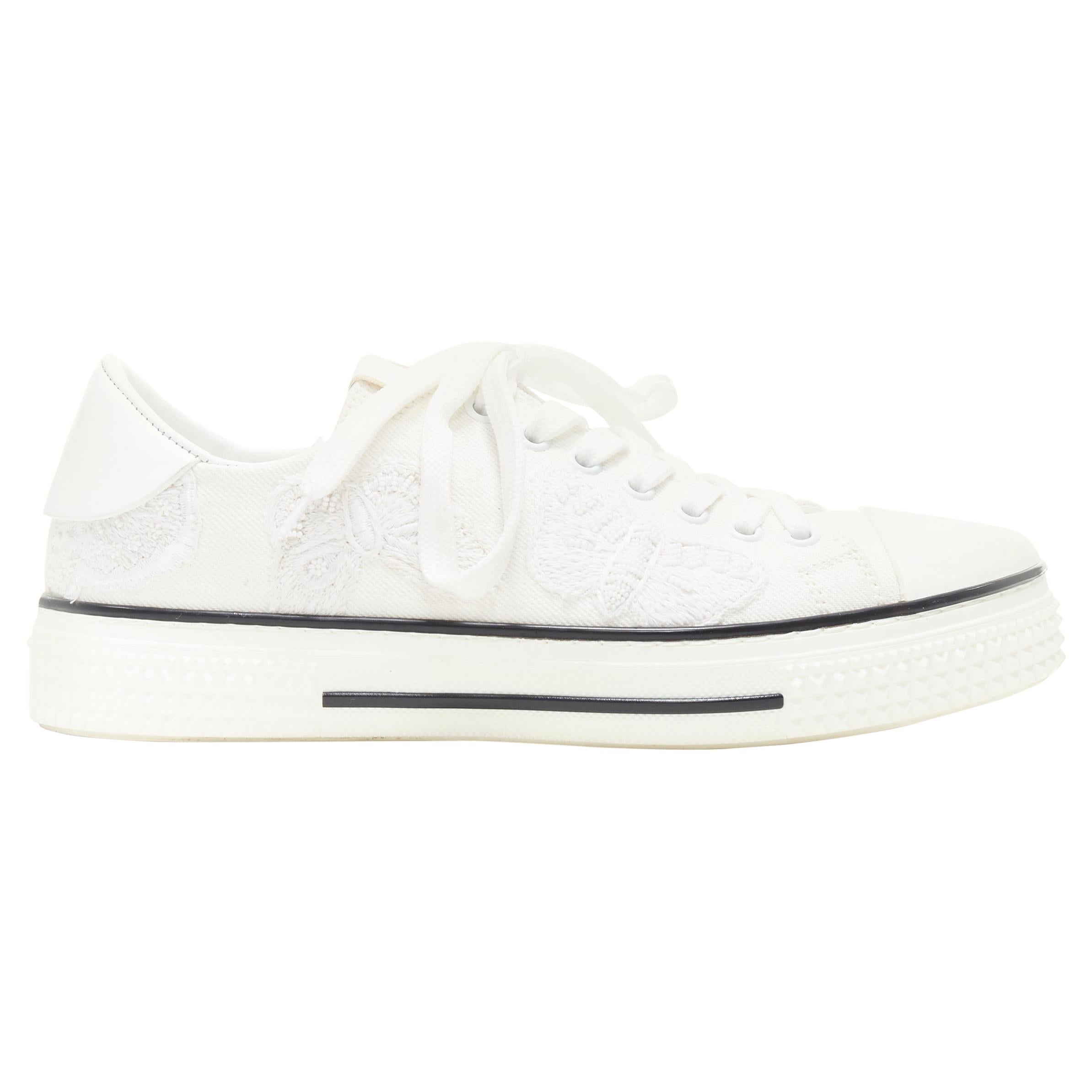 VALENTINO white canvas butterfly head embroidered laced  low top sneakers EU38