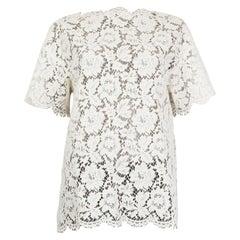 VALENTINO white cotton LACE Short Sleeve Blouse Shirt S