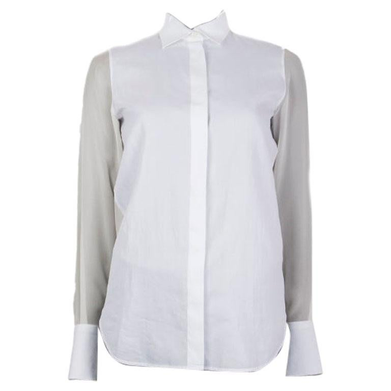 VALENTINO white cotton SHEER SLEEVE Button Up Shirt Blouse S