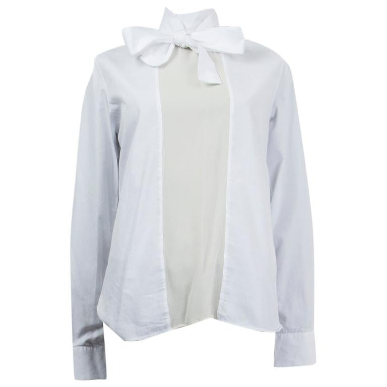 VALENTINO white cotton & silk POPLIN PUSSY BOW Blouse Shirt 42 M