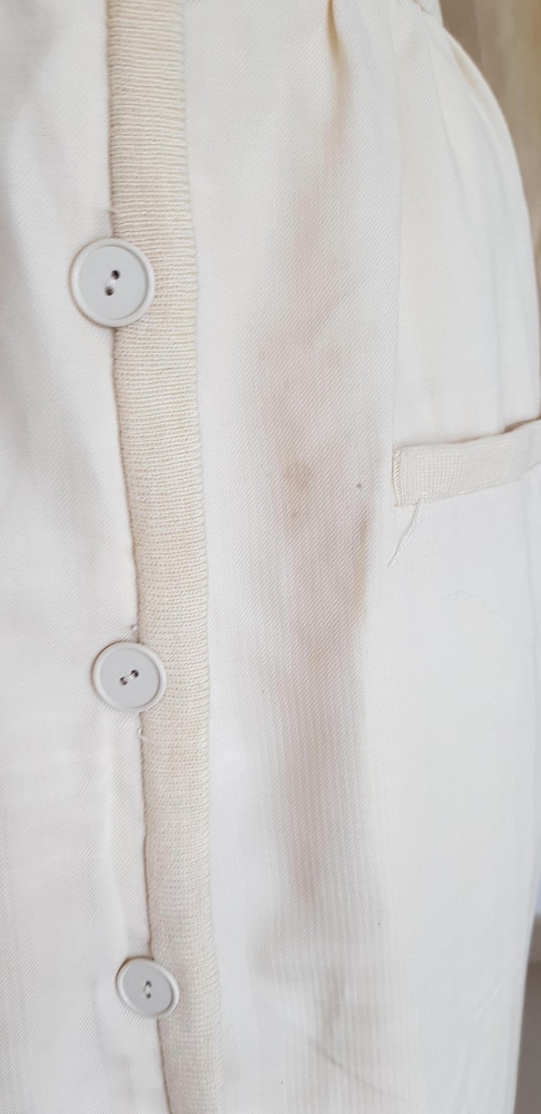 VALENTINO white cream silk and wool silk lined buttons dress - Unworn For Sale 3