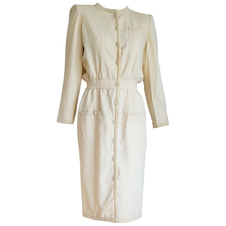VALENTINO white cream silk and wool silk lined buttons dress - Unworn For Sale