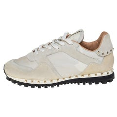 Valentino White/Cream Suede And Nylon Rockstud Sneakers Size 41