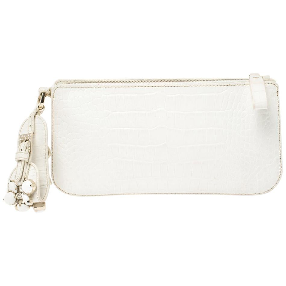 Valentino White Croc Embossed Leather Crystal Embellished Wristlet Clutch
