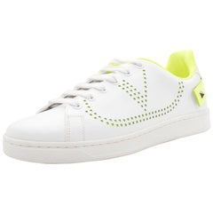 Valentino White/Florescent Green V-Logo Leather Sneakers Size 38.5