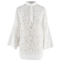 Valentino White Lace Cotton Blend Blouse 42