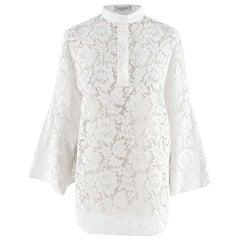 Valentino White Lace Cotton Blend Blouse - Size US 6