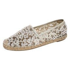 Valentino White Lace Embellished Espadrilles Slip On Loafers Size 35