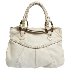 Valentino White Leather Braided Handle Hobo