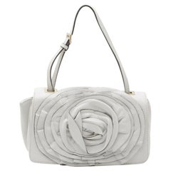Valentino White Leather Flower Shoulder Bag