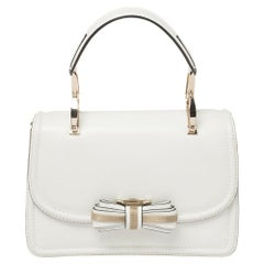 Valentino White Leather Metal Mesh Bow Flap Top Handle Bag