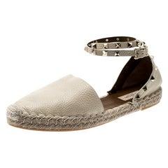 Valentino White Leather Rockstud Espadrille Flat Sandals Size 40