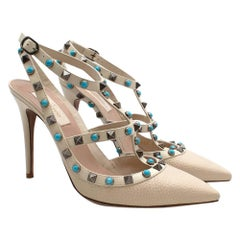Valentino White Leather Rolling Rockstud Turquoise Ankle Strap Sandals