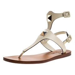 Valentino White Leather Studded Thong Flat Sandals Size 36