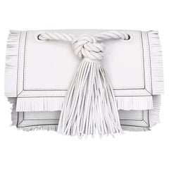 """Valentino White Leather """"The Rope"""" Small Clutch"""