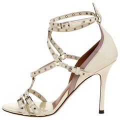 Valentino White Patent Leather Eyelet Detail Strappy Sandals Size 36.5