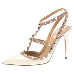 Valentino White Patent Leather Rockstud Pointed Toe Sandals Size 41