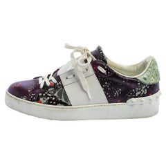 Valentino White/Purple Floral Printed Leather Low Top Sneakers Size 36