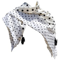 Valentino White Scarf with Black Dots 100% Silk