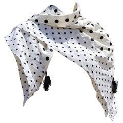 Valentino White Scarf with Black Dots 100% Silk