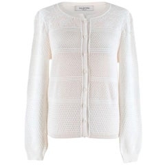 Valentino White Textured Knit Cardigan -  Size M