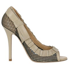 Valentino Woman Sandals Beige Leather IT 38