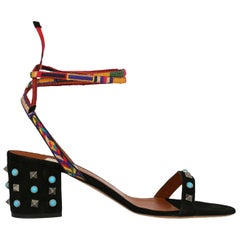 Valentino Woman Shoes Sandals Black, Multicolor Leather EU 39.5