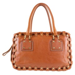 Valentino Women's Brown Leather Square Handbag with Gold Studs