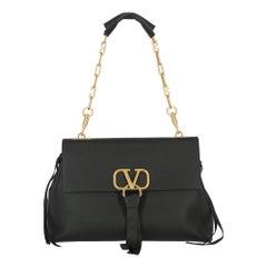 Valentino Women's Handbag V-Ring Black Leather