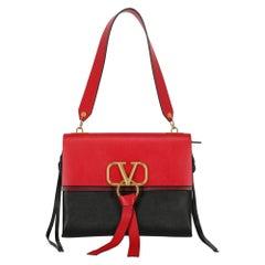 Valentino Women's Shoulder Bag V-Ring Black/Red Leather