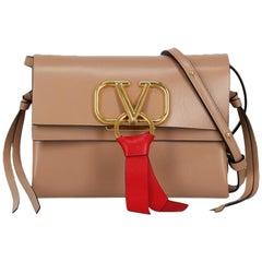 Valentino Women's Shoulder Bag VRing Beige Leather