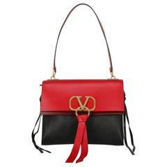 Valentino Women's Shoulder Bag VRing Black/Red Leather