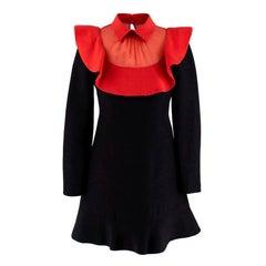 Valentino Wool Red Mesh Collar Crepe Mini Dress - Size US 0-2