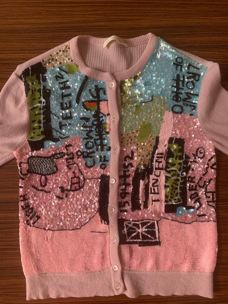 Women's Valentino x Basquiat Graffiti Print Sequin Mauve Pink Cardigan Sweater, 2006 For Sale