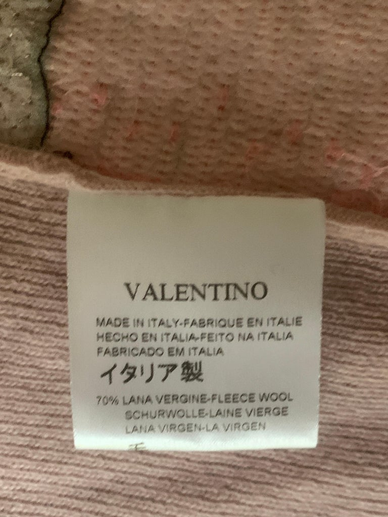 Valentino x Basquiat Graffiti Print Sequin Mauve Pink Cardigan Sweater, 2006 For Sale 3