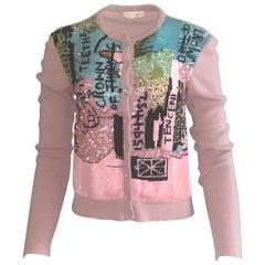 Valentino x Basquiat Graffiti Print Sequin Mauve Pink Cardigan Sweater, 2006