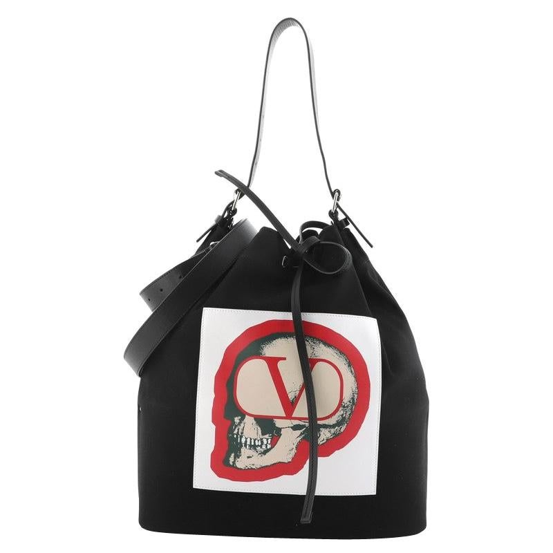 Valentino x Undercover Bucket Bag Printed Nylon