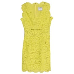 Valentino Yellow Floral Lace Scalloped Trim Bow Detail Peplum Dress S
