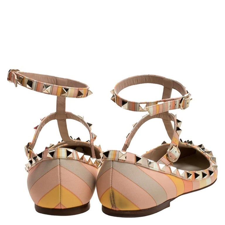 Beige Valentino Yellow Graphics Rockstud Ankle Strap Cage Ballerina Flats Size 39 For Sale