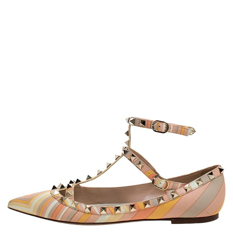 Valentino Yellow Graphics Rockstud Ankle Strap Cage Ballerina Flats Size 39 For Sale 1