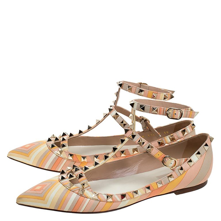 Valentino Yellow Graphics Rockstud Ankle Strap Cage Ballerina Flats Size 39 For Sale 2
