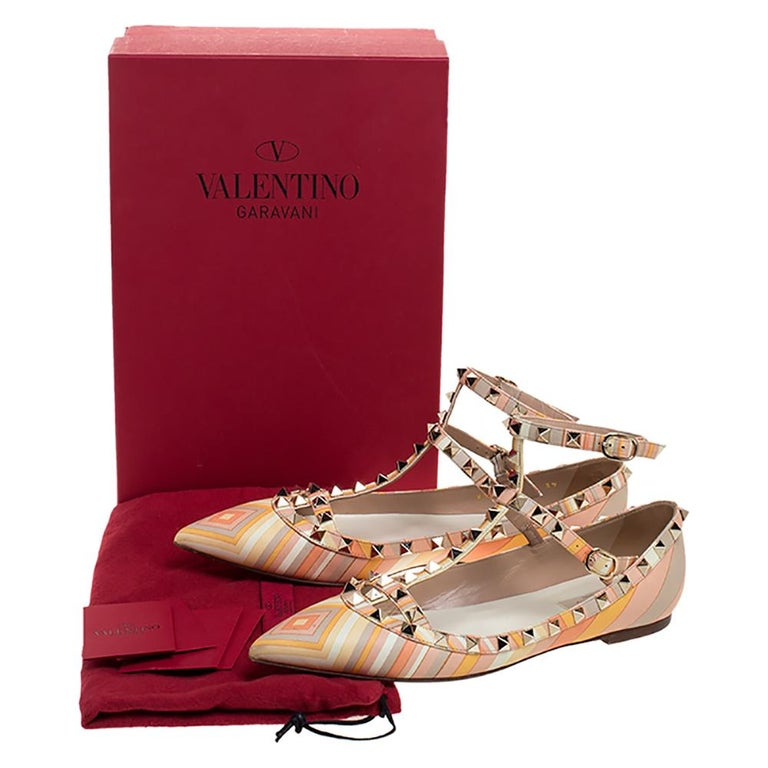 Valentino Yellow Graphics Rockstud Ankle Strap Cage Ballerina Flats Size 39 For Sale 3