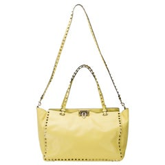 Valentino Yellow Leather Medium Studded Rockstud Tote