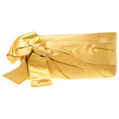 Valentino Yellow Satin Pleated Bow Clutch